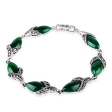 Jade Angel 925 Silver Thailand Vintage Bangle with Green Agate Fine Jewelry Design Bracelet Sterling