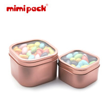 mimipack 2/4/8 oz Square Tin Boxes Clear Window Slip Lid Sugar Chocolate Gift Collection Tin Cans (24PCS/LOT, 7 Colors)(China)