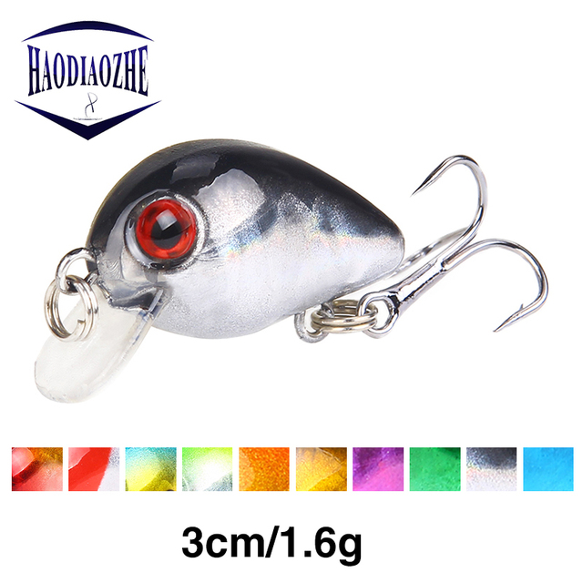 HAODIAOZHE 3cm 1.6g Crazy Crank Bait  Floating Artificial Wobblers Topwater Pesca Crankbait Trout Bass Japan Carp Fishing YU205