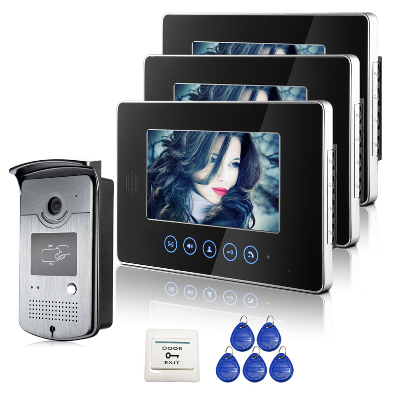 Free Shipping New 7 inch Touch Color Screen Video Intercom Door Phone System 3 Monitors 1 RFID Access Outdoor Camera In Stock