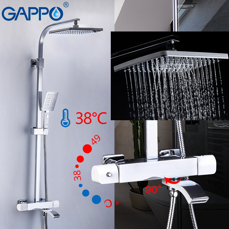 GAPPO  Bathroom Rainfall Thermostic Bathtub  Faucet Set White And Chrome Color  Mixer Tap Wall Mounted Bath Shower Sets
