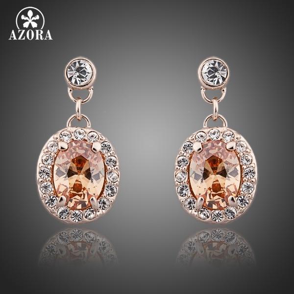 AZORA Classic Rose Gold Color Orange Stellux Austrian Crystal Round Drop Earrings TE0081