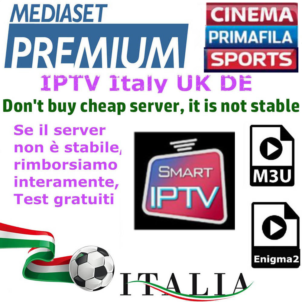 IPTV M3U Enigma2 IPTV Italy UK Germany Belgium France Spain Bein Sport Channels Mediaset Premium For Android Box SmartTV