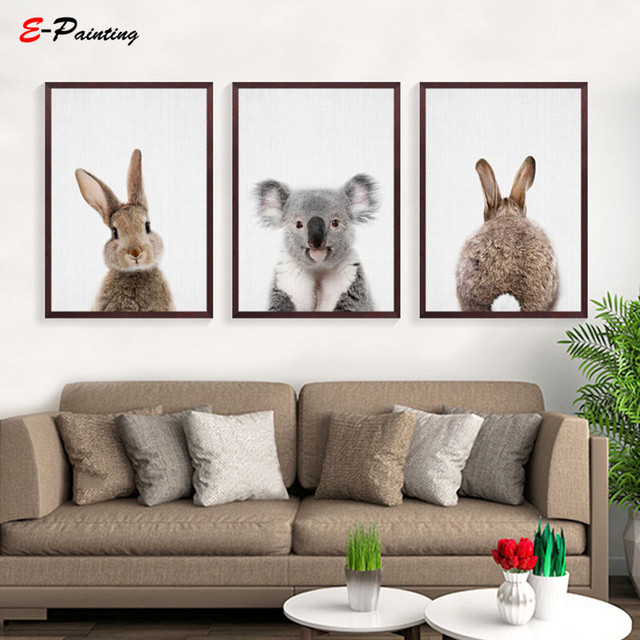 Modern Wall Painting Cute Rabbit Cartoon Nordic Animal Posters and Prints Wall Pictures for Living Room Home Decor