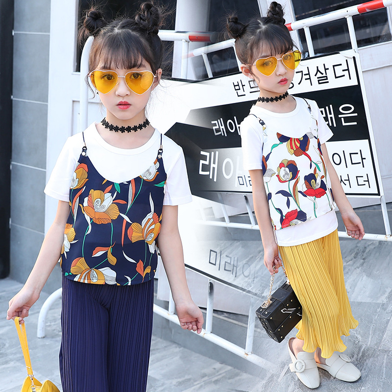 Girl Summer New Pattern Camisole Nine Part Wide Leg Pants 3 piece Children Fashion Suit Kids Clothing for 3 5 7 9 11 13 years купить
