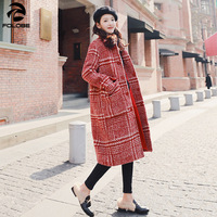 FOLOBe Red Plaid Winter England Style Elegant Vintage Warm Christmas Wool Coat Women Casual Long Turn Down Collar Jackets