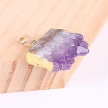 Natural Amethysts Slice Stone Pendant Female Personality Creative Sweater Chain Accessories Square