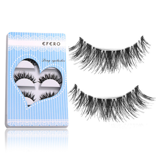 30Pair Professional Makeup Eye Lashes Fake False Eyelashes Extensions Transparent Stalk Handmade Long Lashes efero Brand New