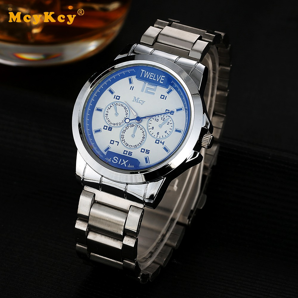 Mcykcy Brand Cheap Sports Watch For Men Luxury Silver Stainless Steel Quartz Wristwatch Fashion Casual Mens Dress Watches Clock mcykcy brand sports watch for men fashion gold leather wristwatch quartz stainless steel casual luxury clock date watches my035