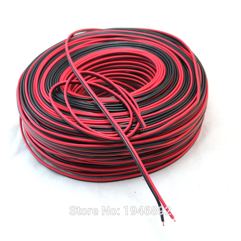 Copper Red with Black color cable parallel to the outer wire LED Speaker Cable Electronic Monitor power Cord F  AAA quality 1meter red 1meter black color silicon wire 10awg 12awg 14awg 16 awg flexible silicone wire for rc lipo battery connect cable