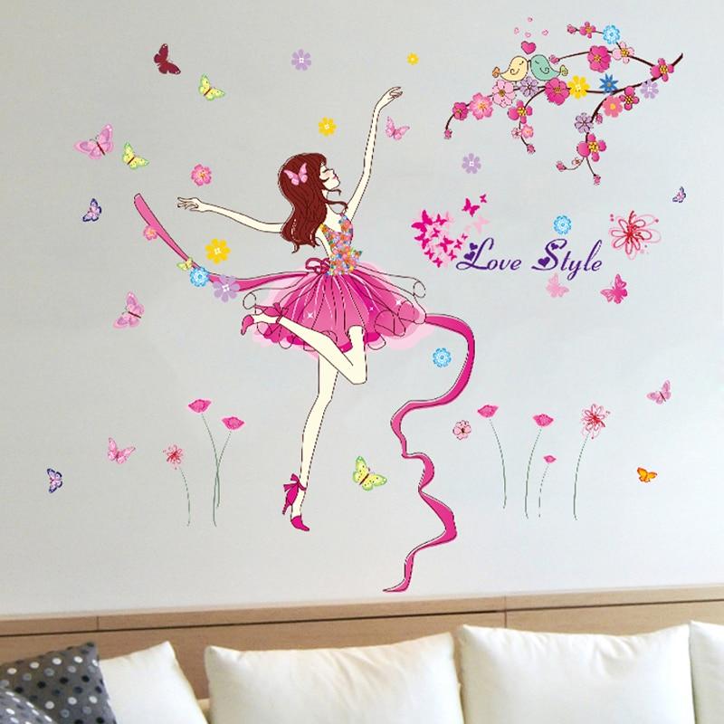 ✓[SHIJUEHEZI] Ballet Wall Sticker Cartoon Multi Color Girl Dancing ...