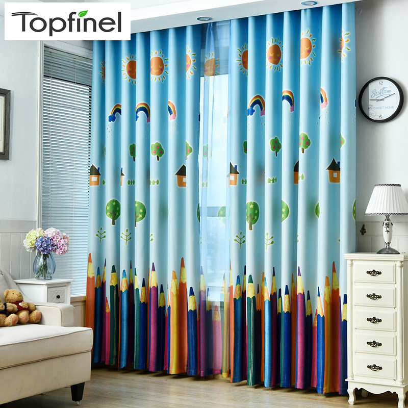 New Cartoon Colour Pencils Children Curtains Baby Room Curtains For Living Room Bedroom Blackout Curtains For Kids Lovely Drapes