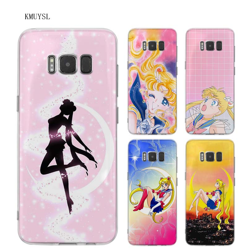 Sailor Moon Phone Case Anime For Samsung Galaxy Note 10 S10 S9 S8 Plus S10e S10 5G e Note 9 8 5 4 S6 S7 Edge S5 Manga Crystal Senshi Floral Cute Fandom Gift for Fan Girls Women Silicone Clear Cover