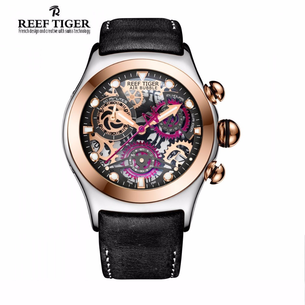 Reef Tiger/RT Sport Chronograph Watch For Men Three Counters Steel Rose Gold Skeleton Watch with Date RGA792 2x yongnuo yn600ex rt yn e3 rt master flash speedlite for canon rt radio trigger system st e3 rt 600ex rt 5d3 7d 6d 70d 60d 5d