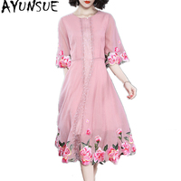 AYUNSUE Women Pink Dress Elegant 2018 Spring Summer Floral Embroidery Midi Dress Half Sleeve A line Evening Party Dresses YQ1368