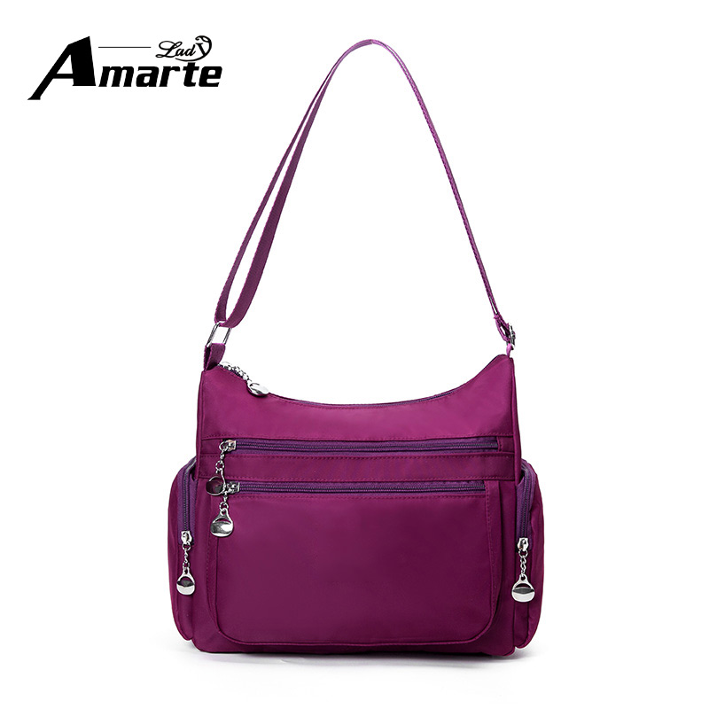 Amarte Nylon Crossbody Bags Watereproof Soild Female Messenger Bag Adjustable Strap Women Single Shoulder Ladies Satchels