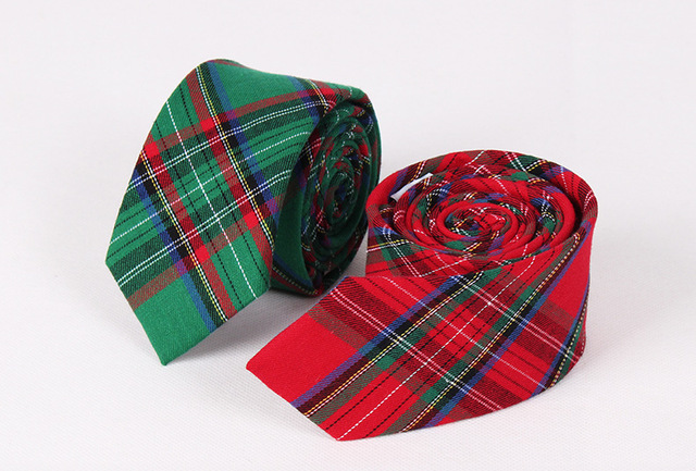 Mens fashion cotton narrow skinny neck tie british style casual ties mens fashion cotton narrow skinny neck tie british style casual ties red green plaid tie for ccuart Gallery