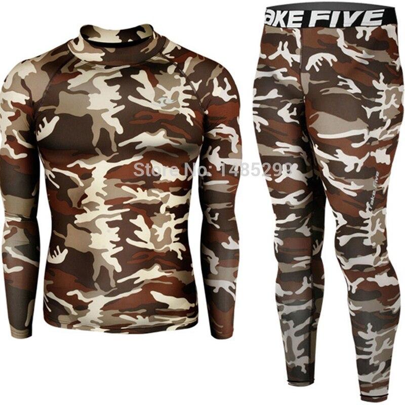 새로운 프리미엄 테이크 피브 남성 압축 스킨 타이토 긴 소매 카모 밀리터리 셔츠 & 바지 세트 -62 + 120