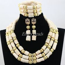 Cream White Real Coral Beads Set 2016 New Nigerian African Wedding Beads Necklace Jewelry Set Gold Plated Free Shipping CJ706