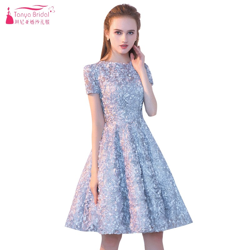 Short Sleeves A Line Short   Cocktail     Dresses   2018 Slivery Fashion Ribbons Homecoming   Dress   In Stock Real Photos DQG332