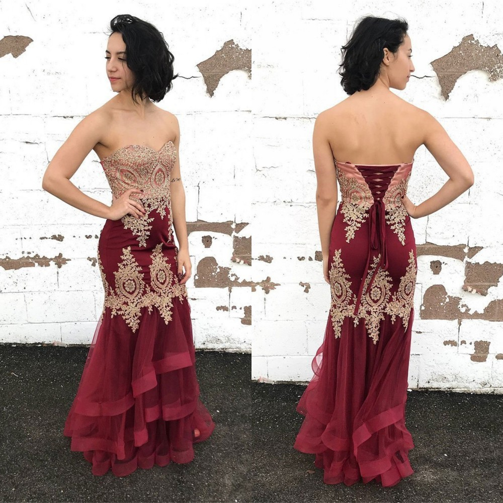 Elegant Burgundy Tiered Mermaid   Evening     Dress   With Gold Lace Strapless Floor Length Tulle Long Prom Gown 2019 Vestido De Festa