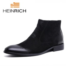 HEINRICH Autumn Leather Men Boots Warm Fur Winter Shoes Handmade Russian Style Leisure  Chaussure Homme Hiver