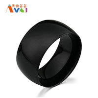 AMGJek 11 5mm Big Wide Ring Smooth 3 Colors Gold Black Silver Titanium Steel Arc Rings