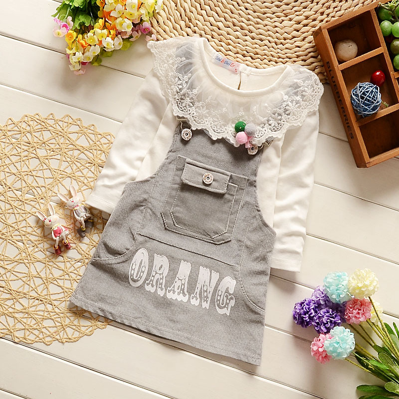 2017 Fashion Casual Toddler Girls Cotton Clothes Set Baby Girl Suspender Skirt Long Sleeve Lace T-shirt Spring Kid Clothing Set baby girl clothes set fashion blue jean shirt cotton white lace shorts 2pcs girls clothes kid summer suit set