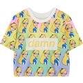 Женщины Harajuku растениеводство ти топы 2016 летняя мода мультфильм принцесса повторяющийся печати топ тис для женщин обрезанные футболка дамы Т рубашка