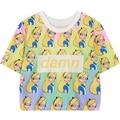 Mulheres Harajuku tee colheita encabeça 2016 moda verão princesa dos desenhos animados allover imprimir top t para mulher cropped tshirt das senhoras T camisa
