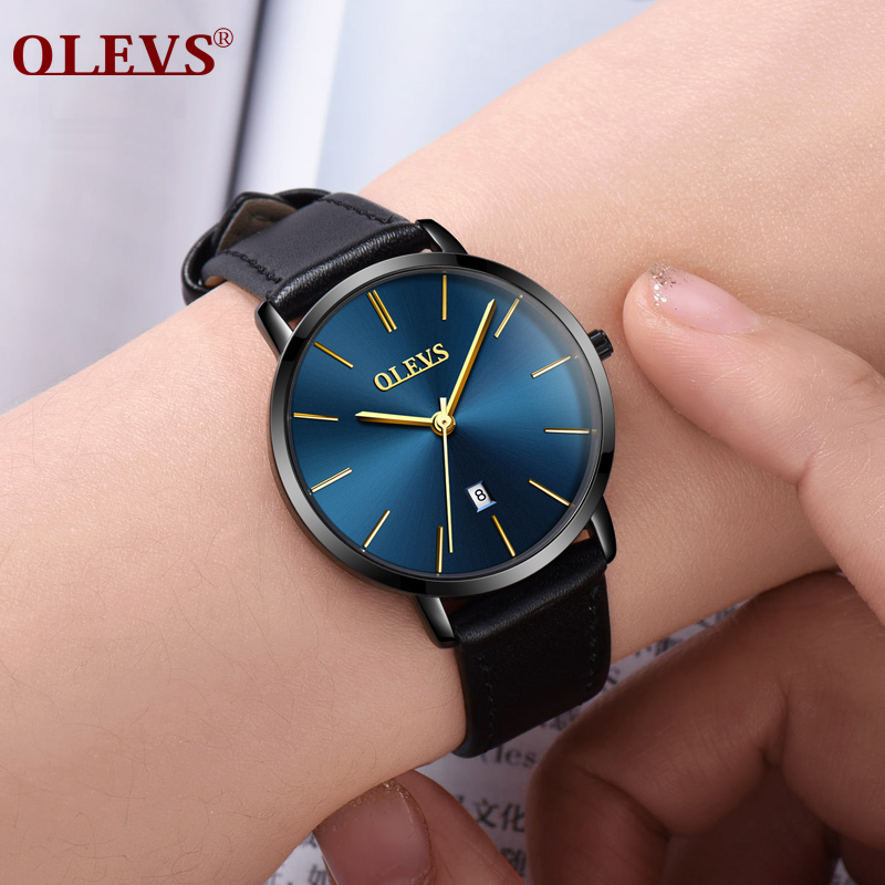 OLEVS High Quality Ladies Watches Leather Japanese Movement Women Wrist Watch Quartz Clock Calendar Casual Watches reloj mujer клавиатура sven challenge 9100 black usb sv 03109100ub