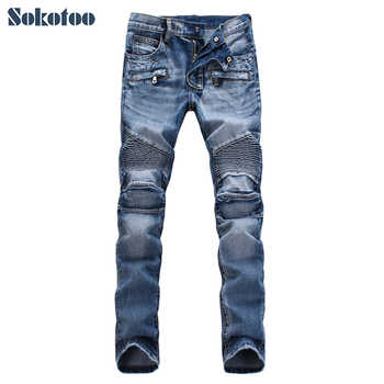Sokotoo Men's slim fit classic blue biker jeans for moto Casual plus size denim cargo pants Fashion ripped jeans for man - DISCOUNT ITEM  25% OFF All Category