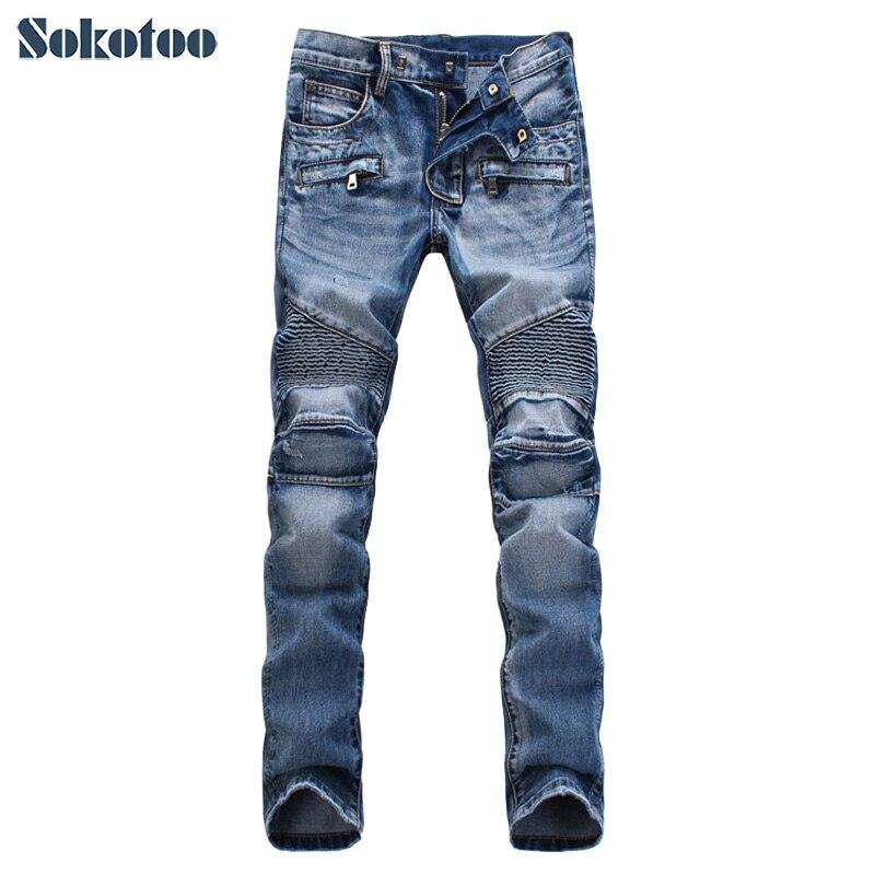 Sokotoo ผู้ชาย slim fit classic blue biker กางเกงยีนส์ moto Casual plus ขนาด denim cargo กางเกงแฟชั่นกางเกงยีนส์ ripped สำหรับ man-ใน ยีนส์ จาก เสื้อผ้าผู้ชาย บน   1