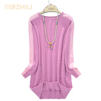 Women Pullovers 100% pure goat cashmere knit women's O neck long dress pullover sweater Fashion Tops Standard Clothes