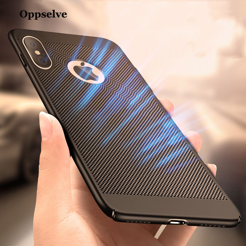 Breath Dissipation Phone Case For iPhone X 7 6 6s Plus Luxury Ultra Thin Slim Hard PC Cover Coque Capinhas Telefontok For iPhonX in Fitted Cases from Cellphones Telecommunications