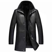 Black men winter warm fur lamb woolen casual jacket men fur collar plush faux leather jacket coat European style