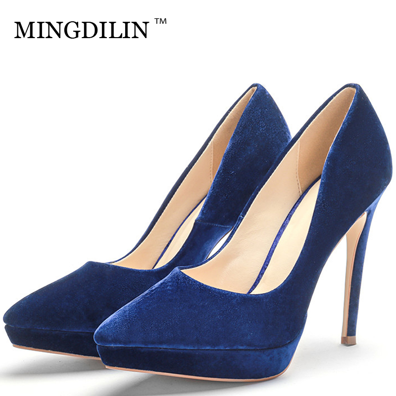 MINGDILIN Stiletto Women's Blue Pumps High Heels Shoes Plus Size 43 Wedding Party Woman Shoes Fashion Pointed Toe Sexy Pumps goxeou 2018 high heels shoes women pumps 6cm woman shoes sexy pointed toe wedding party shoes stilettos heels stiletto plus siz