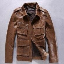 Lapel Slim Multi-Pocket Badges Men's Leather Jackets  Vegetable Tanned Sheepskin Alpha M65