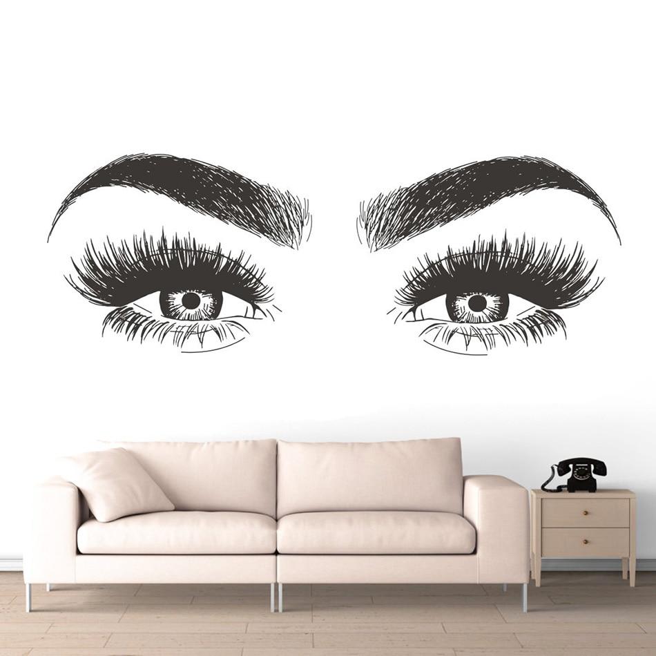 e934ab8134c Beauty Salon Decoration Long Lashes Vinyl Wall Sticker Eyelashes Eyebrows  Vinyl Decal Removable Eye Lashes Wallpaper AZ139