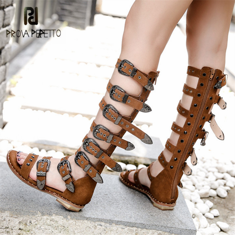 купить Prova Perfetto Punk Style Women Gladiator Sandals Open Toe Rivets Buckle Belt Decor Summer Boots Female Flat Shoes High Boots недорого