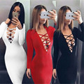 Womens Elegant Sexy Cotton V-Neck Bandage Casual Club Bridesmaid Mother of Bride Dress Skater Sexy Party Dress