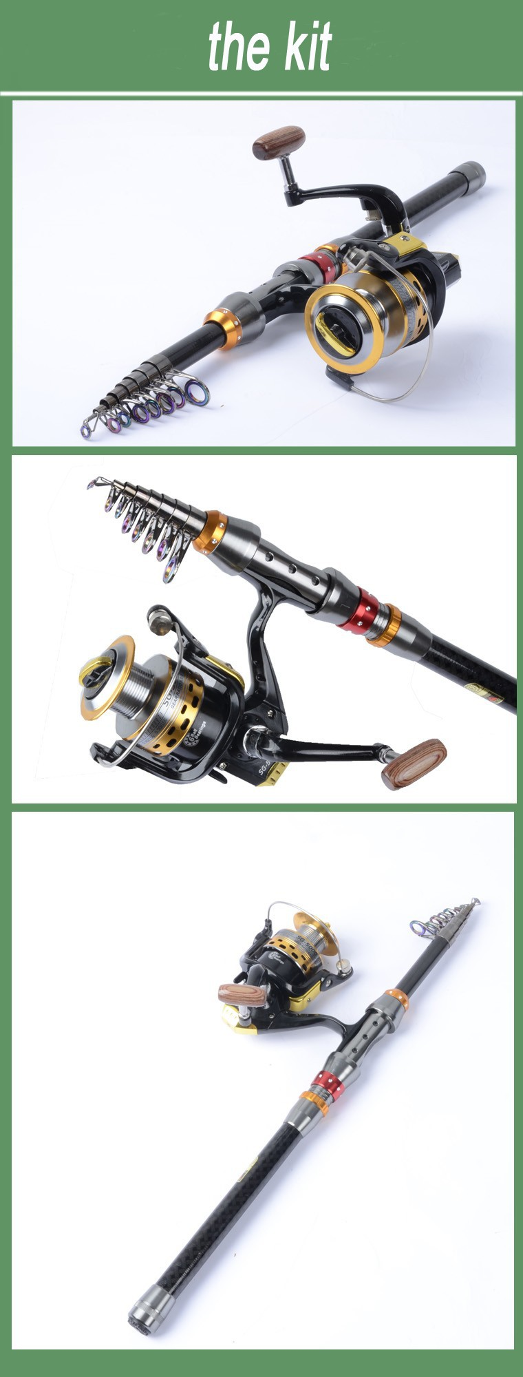 2014 new Carbon sea rod superhard Telescopic Fishing Rod Carbon 1.8-3.6M fishing Rod Spinning free shipping1104