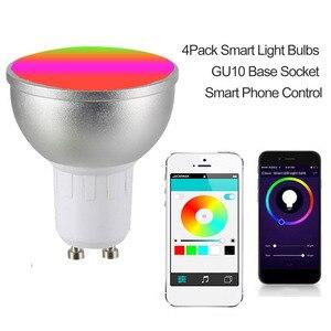 Image 5 - LED ampul AC85 265V 6W 4 adet LED lamba RGBW WIFI bağlı akıllı ampuller 16 milyon renk GU10 taban KTV ev partisi Deco