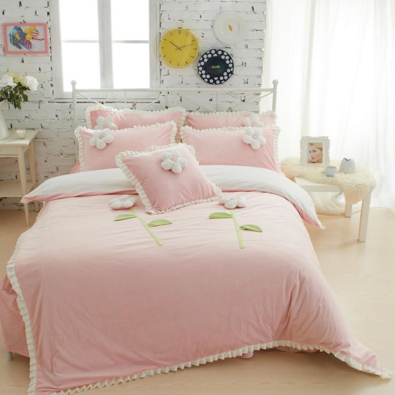 rose violet bleu princesse style literie ensembles epais polaire chaud roi reine jumeaux filles housse de couette lit jupe ensemble decoratif oreiller