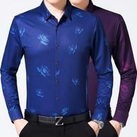 2017 Retro Floral Printed Man Casual Shirts Fashion Classic Men Dress Shirt Breathable Men S Long