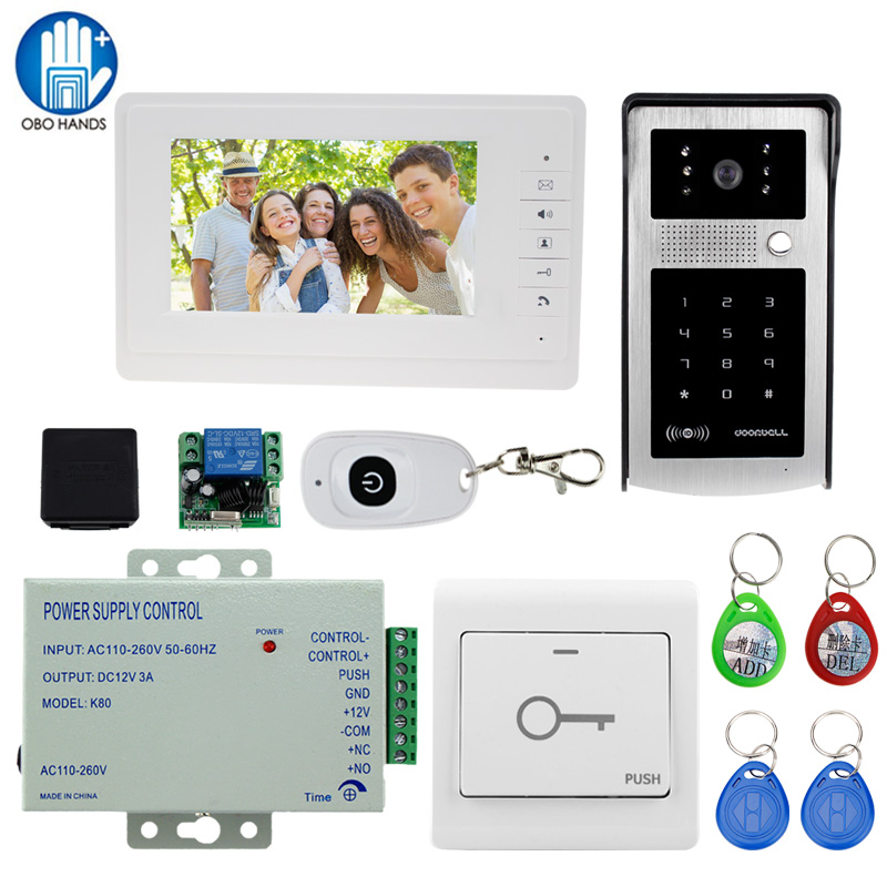 Wired 7 Video Home Intercom System Visual Doorbell 1 Color LCD Monitor+1 RFID Access Control 700TVL IR Camera+K80 Power Supply new safurance wired 7 lcd video door phone doorbell home intercom system ir camera 1 monitor speakerphone access control