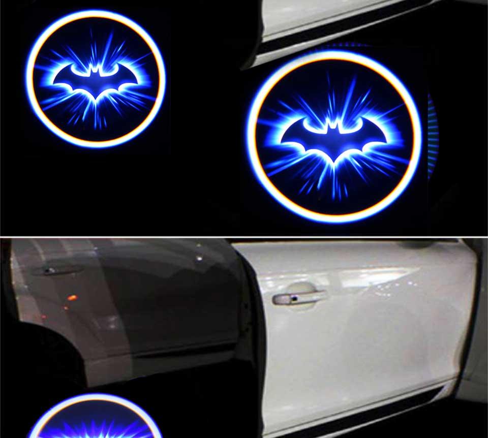 Battery Powered Cartoon Logo Batman LED Car Door Light 3D Laser Projector Lamp Auto Decoration Lighting Bulb Stick On Car (3)