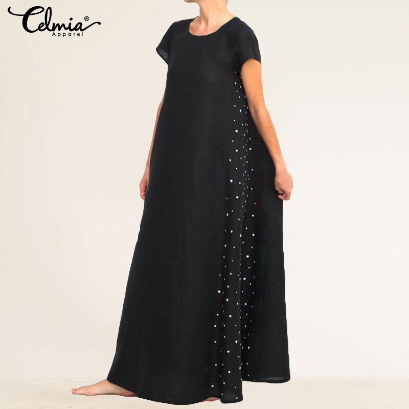 Plus Size 2019 Celmia Women Dot Print Vintage Long Dress Ladies Short Sleeve Casual Loose Pockets Summer Beach Vestidos Robe 5XL