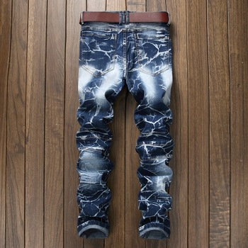 QMGOOD Hot Sale 2018 high quality Men's Jeans New Arrival Fashion Design biker jeans men Large Size Straight jeans homme 40 42