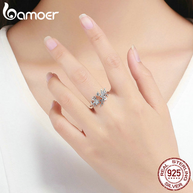 BAMOER GAR025 Silver Ring Fairy Wings Flowers Plant Ajustable Rings for Women 925 Sterling Silver Jewelry Girl Jewelry Gifts 3